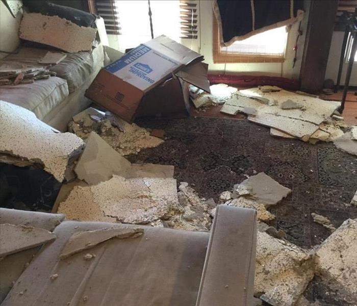 ceiling debris and mess on living room floor and couches