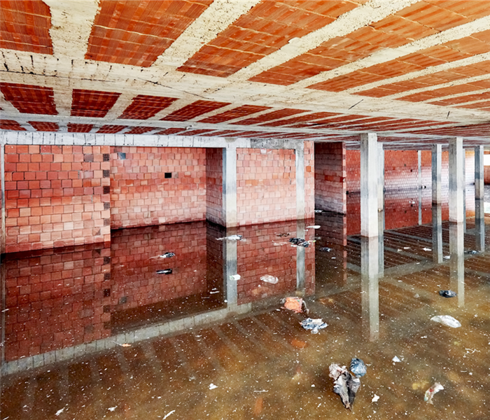 flooded basement of a building