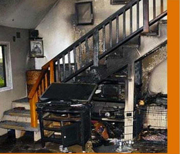 burned stairway in a home
